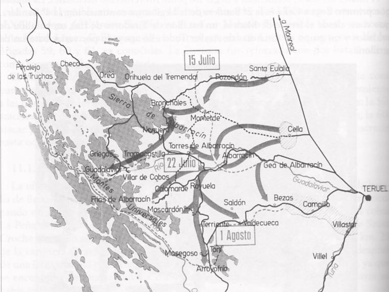 Plano de operaciones militares en la Sierra de Albarracín (Guerra civil en Aragón, ed.)